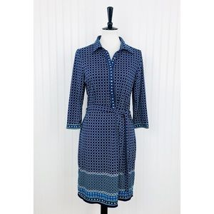 Max Studio • NEW Blue White Diamond Tie Dress • L